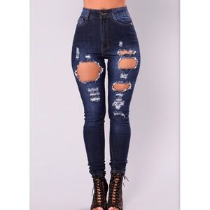 Fashionnova Distressed Dark Denim Skinny Jeans